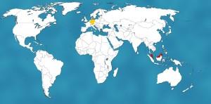 Malaysia (rot) liegt knapp 10.000 Kilometer östlich von Deutschland (gelb)