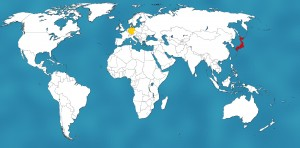 Japan (rot) liegt mehr als 9.000 Kilometer östlich von Deutschland (gelb) - das ist fast ein Viertel des gesamten Umfangs der Erde!